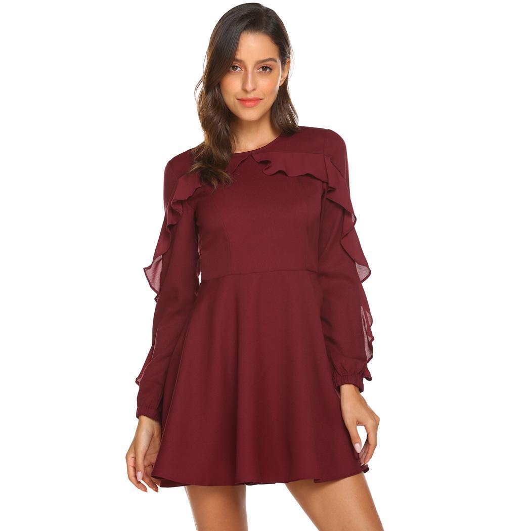 eb365a93f9f6 Wine red Long Sleeve Dress
