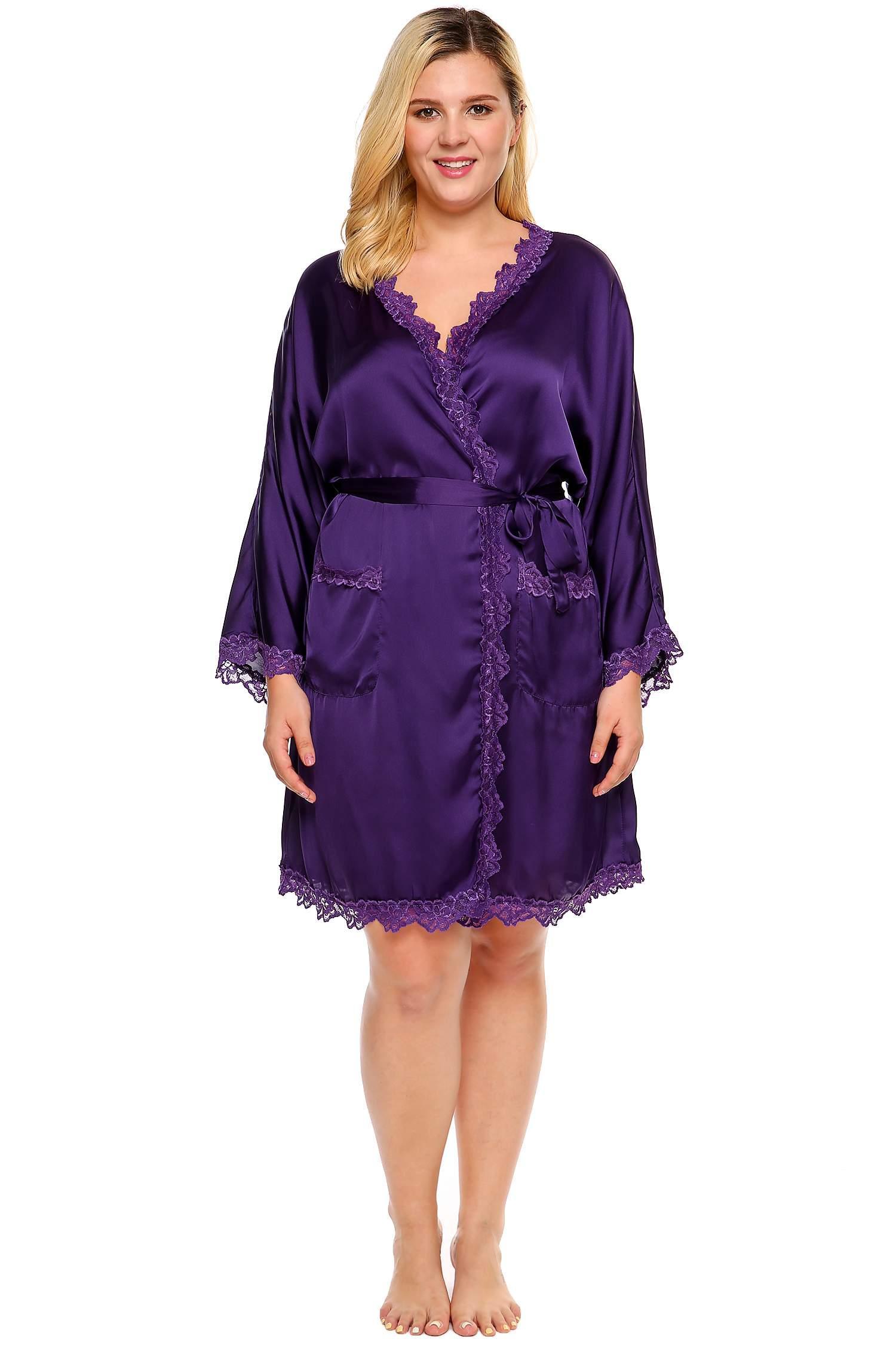 c55991f6b9 Purple Plus Size Lace Trim Satin Belted Long Sleeve Kimono Robe